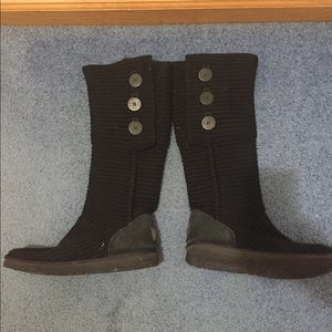 Black cloth button UGG boots